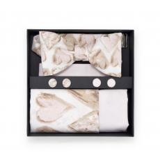 """Набор """"Зефирное сердце"""" (галстук-бабочка, платок-паше, запонки)"""