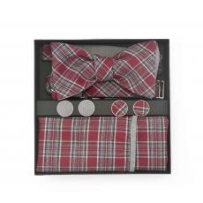 """Набор """"Красный виконт"""" (галстук-бабочка, платок-паше, запонки)"""