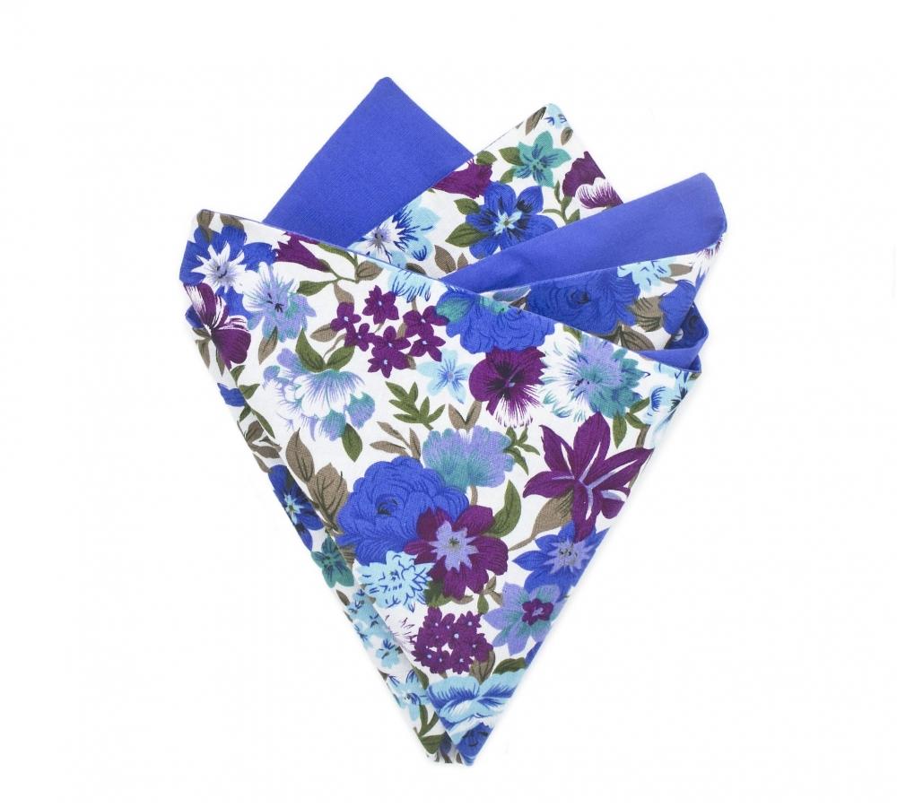 """Платок-паше """"Василек"""", нагрудный платок синий с цветочным узором"""