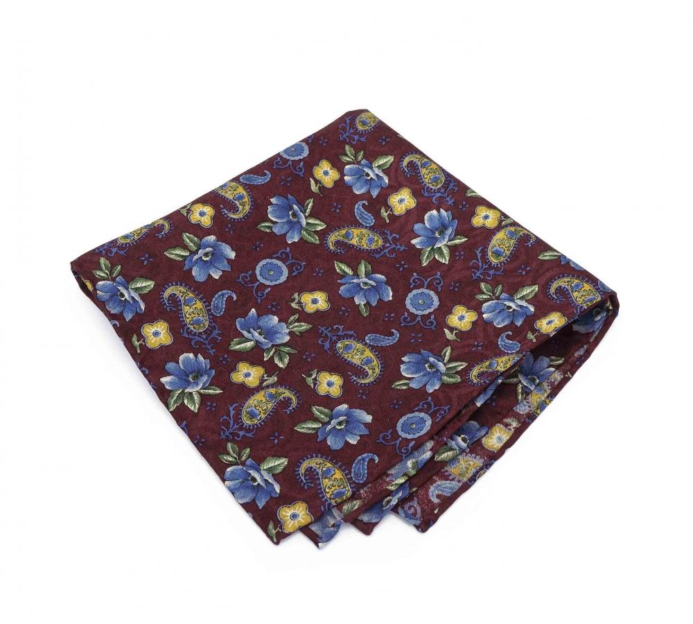 """Платок-паше """"Голубые цветки"""", шелковый нагрудный платок с цветочным узором"""