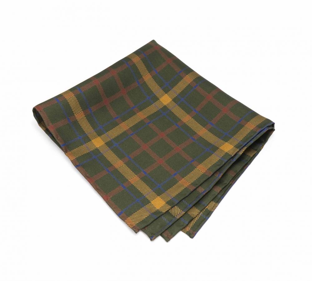 """Платок-паше """"Зеленая клетка"""", шелковый нагрудный платок с узором пейсли"""