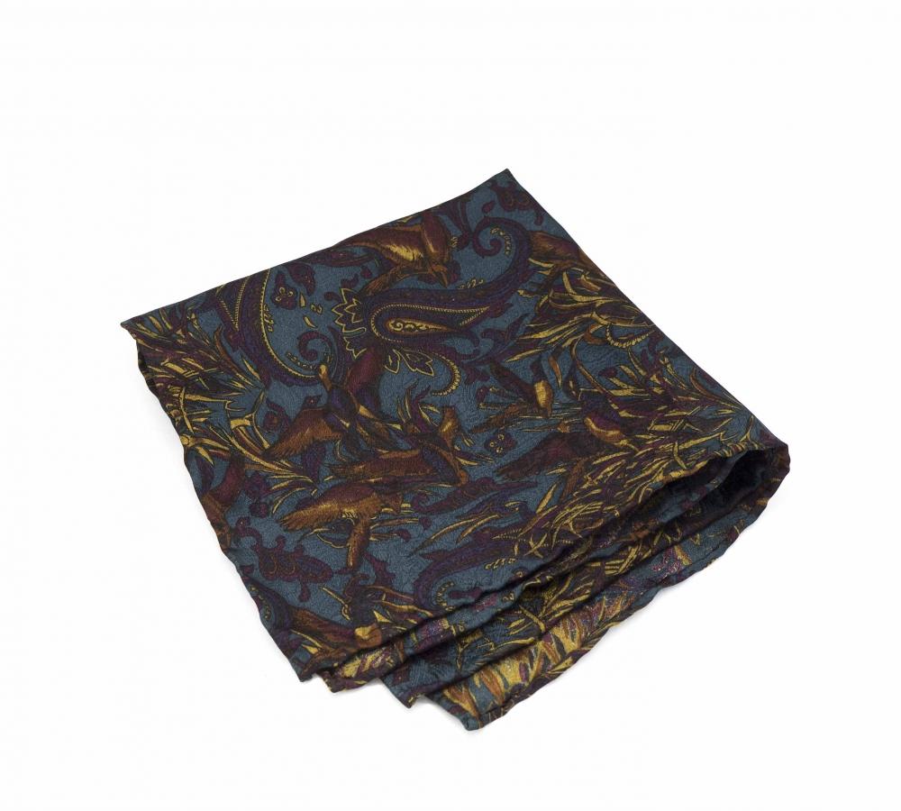 """Платок-паше """"Жар-птица"""", шелковый нагрудный платок с узором пейсли"""