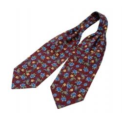 """Шейный мужской платок Аскот из натурального шелка с узором """"Голубые цветки"""""""