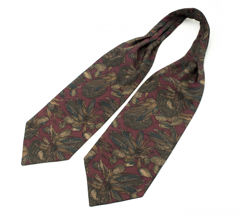 "Шейный мужской платок Аскот с узором ""Кукуруза"" из натурального шелка"
