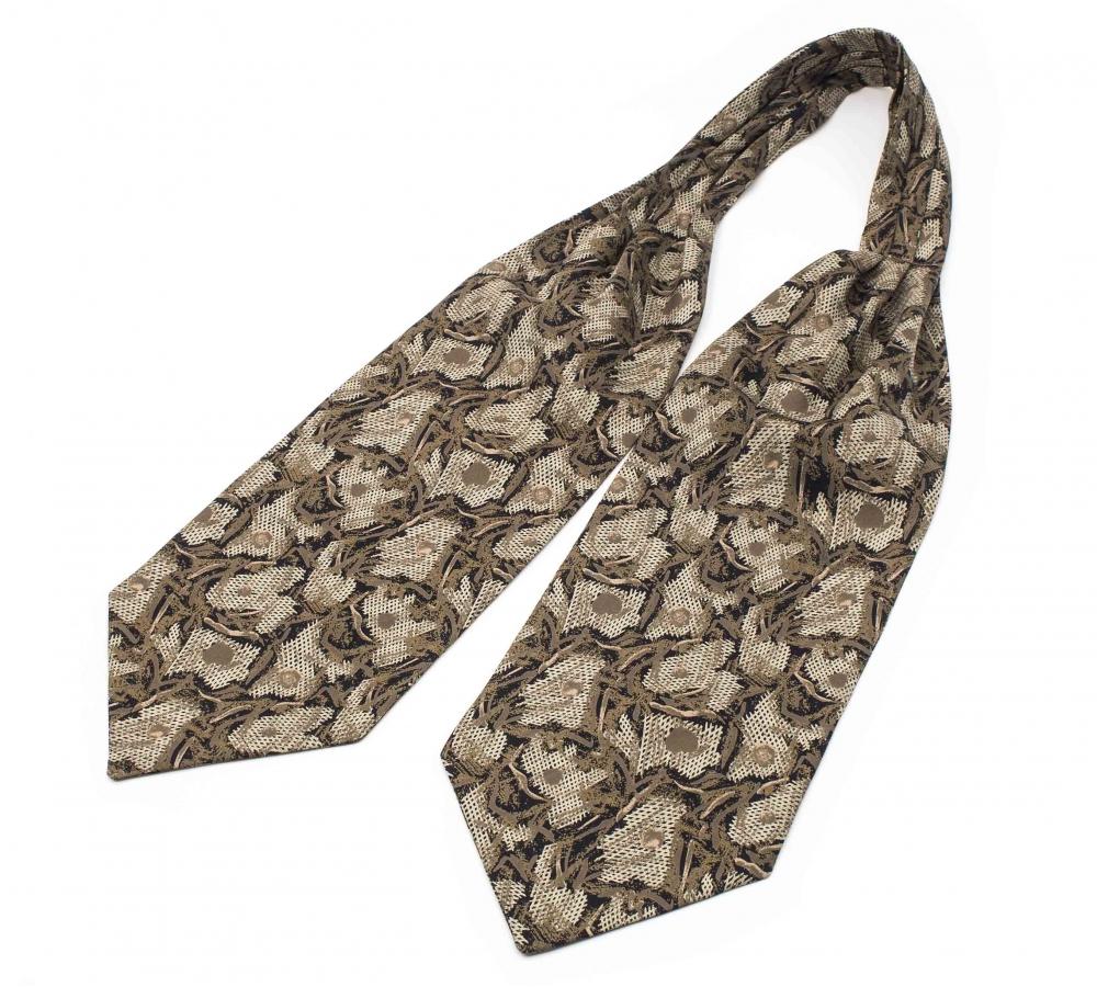 """Шейный мужской платок Аскот с узором """"Экзотичный хаки"""" из натурального шелка"""