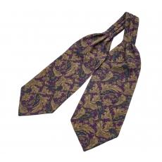 """Шейный мужской платок Аскот с узором """"Фиолетовый Восток"""" из натурального шелка"""