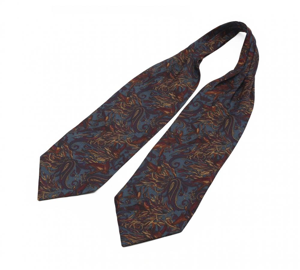 "Шейный мужской платок Аскот из натурального шелка с узором ""Жар-птица"""