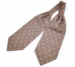 """Шейный мужской платок Аскот с узором """"Бобры"""" из натурального шелка"""