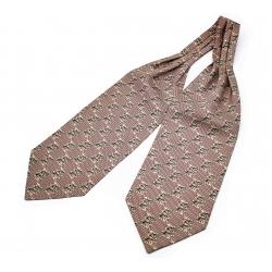 """Шейный мужской платок Аскот из натурального шелка с узором """"Бобры"""""""