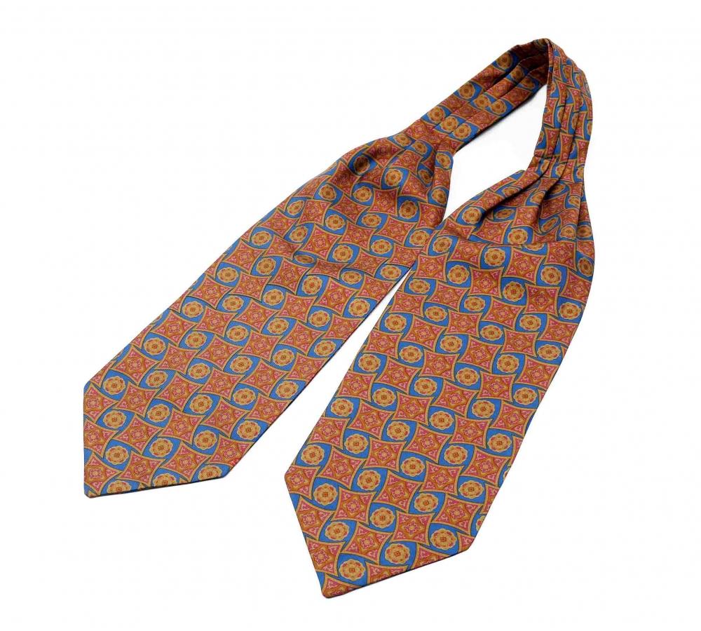 """Шейный мужской платок Аскот из натурального шелка с узором """"Летучий Корабль"""""""