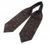 """Шейный мужской платок Аскот с узором """"Позитивный коричневый"""" из натурального шелка"""
