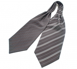 """Шейный мужской платок Аскот с узором """"Двойная сплошная"""" из натурального шелка"""