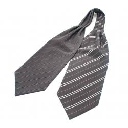 """Шейный мужской платок Аскот из натурального шелка с узором """"Двойная сплошная"""""""