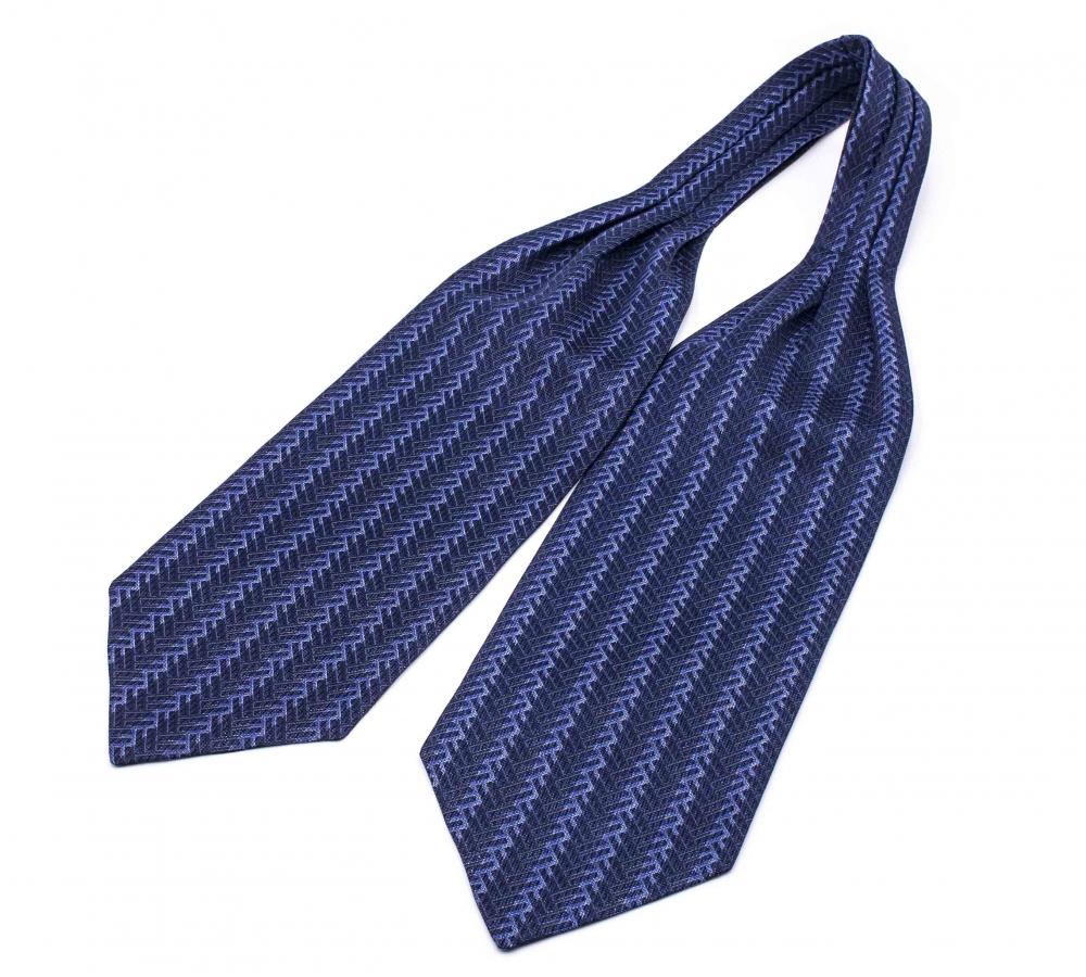 """Шейный мужской платок Аскот с узором """"Синяя елочка"""" из натурального шелка"""