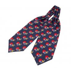 """Шейный мужской платок Аскот с узором """"Красные кувшины"""" из натурального шелка"""
