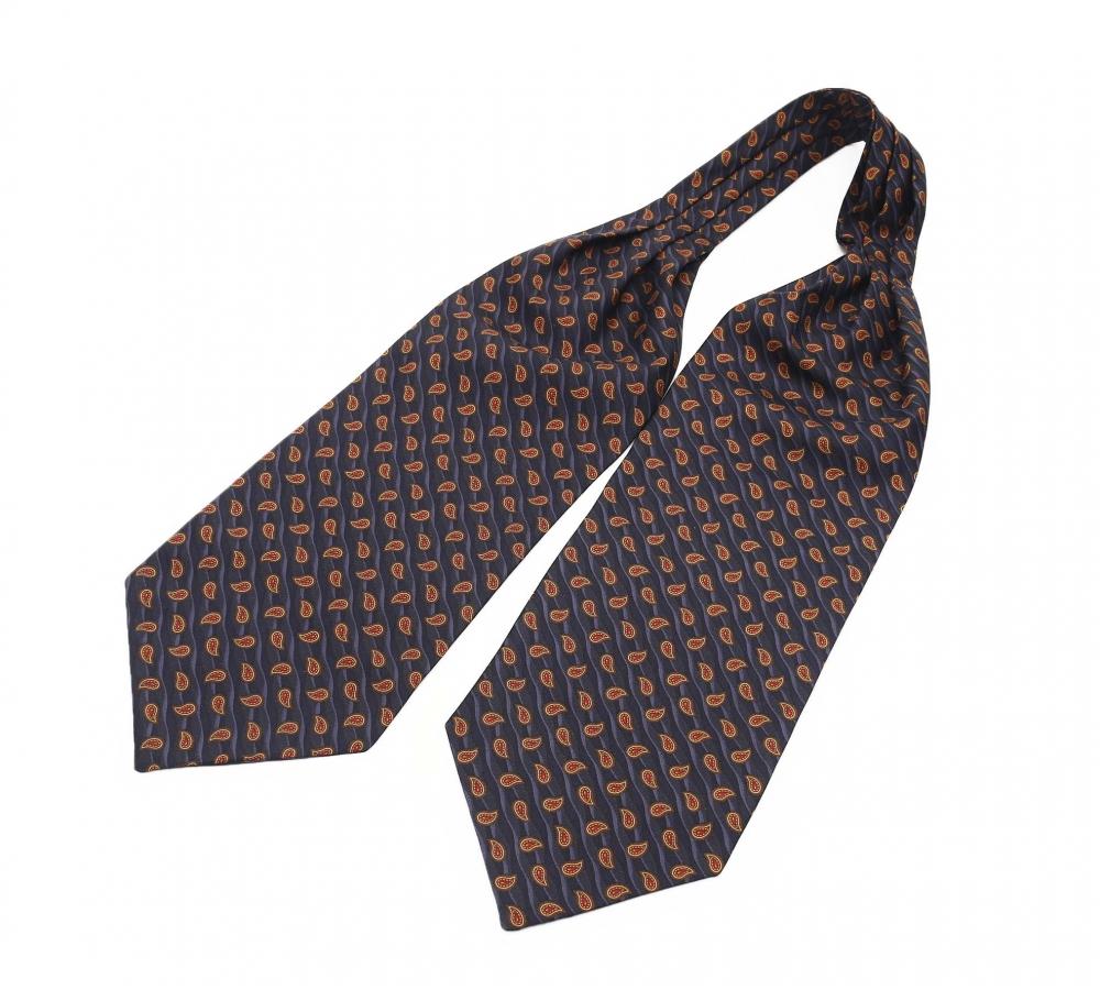 """Шейный мужской платок Аскот с узором """"Оранжевый огурец"""" из натурального шелка"""