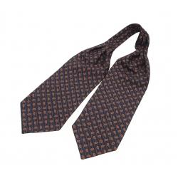 """Шейный мужской платок Аскот из натурального шелка с узором """"Оранжевый огурец"""""""