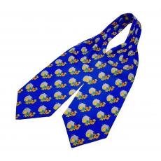"""Шейный мужской платок Аскот с узором """"Голубые кувшины"""" из натурального шелка"""