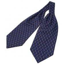 """Шейный мужской платок Аскот с узором """"Синие ромашки"""" из натурального шелка"""