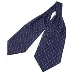 """Шейный мужской платок Аскот из натурального шелка с узором """"Синие ромашки"""""""