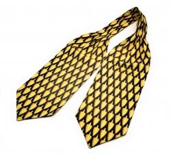 """Шейный мужской платок Аскот с узором """"Желтая сулея"""" из натурального шелка"""