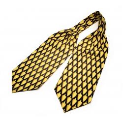"""Шейный мужской платок Аскот из натурального шелка с узором """"Желтая сулея"""""""