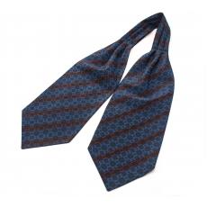 """Шейный мужской платок Аскот с узором """"Сине-коричневая полоска"""" из натурального шелка"""