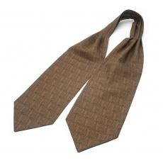 """Шейный мужской платок Аскот с узором """"Благородный бежевый"""" из натурального шелка"""