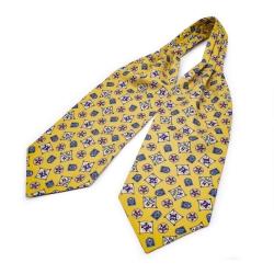 """Шейный мужской платок Аскот из натурального шелка с узором """"Морское солнце"""""""