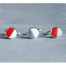 Запонки Красно-белое Сердце